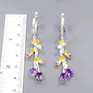 Gorgeous Amethyst & tourmaline sterling earrings